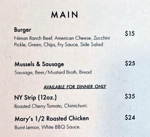 Nomad East menu - mains