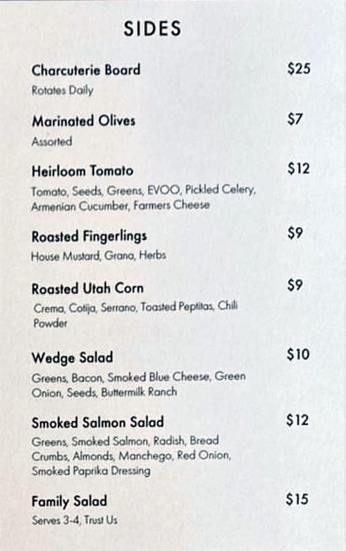 Nomad East menu - sides