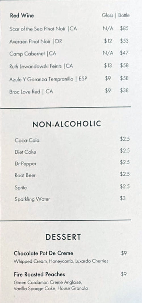 Nomad East menu - wine, beverages, dessert
