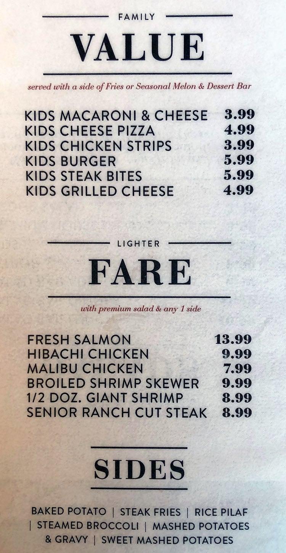 Sizzler menu - family menu, lighter fare, sides