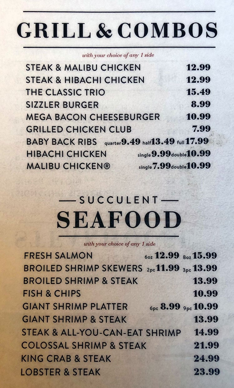 Sizzler menu - grill and combos, seafood