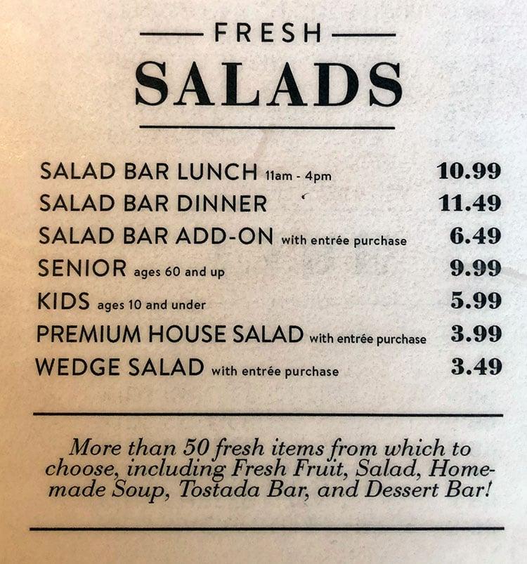 Sizzler menu - salads
