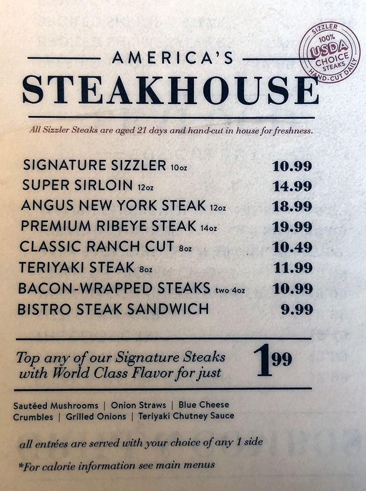 Sizzler menu - steaks
