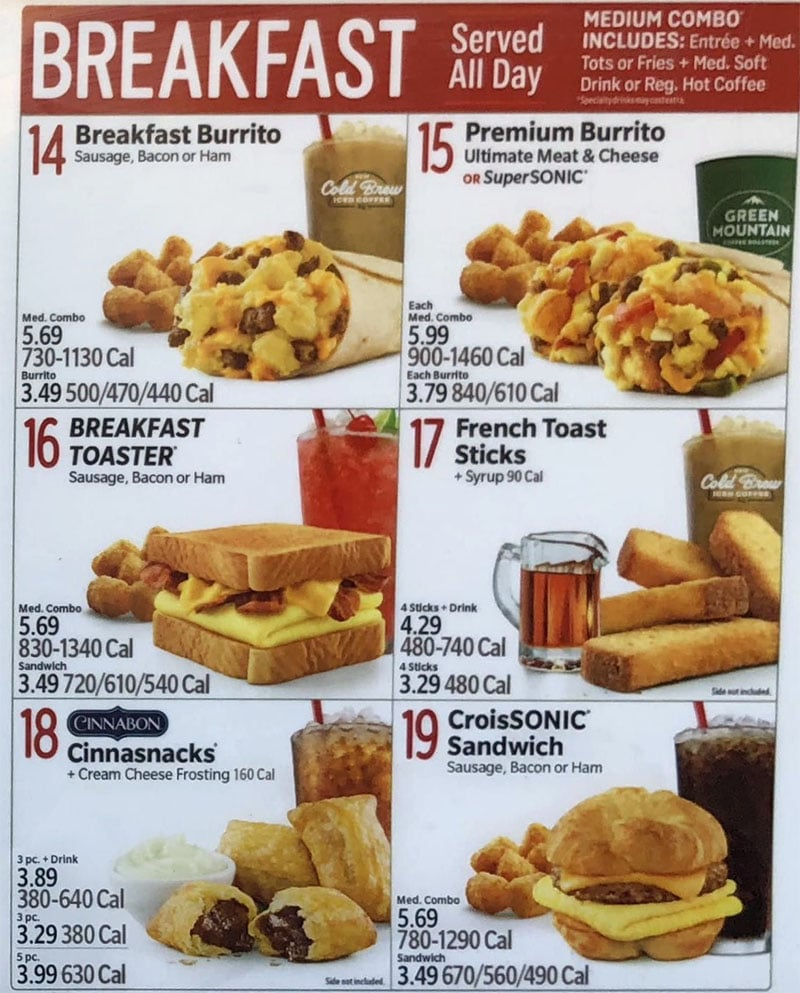 Sonic Drive-In menu - all day breakfast