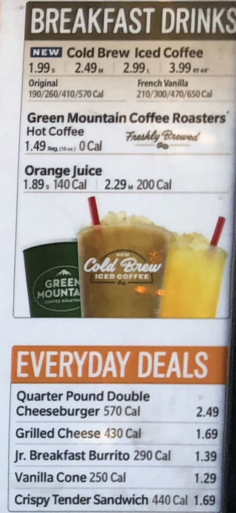 Sonic Drive-In menu - breakfast drinks, deals