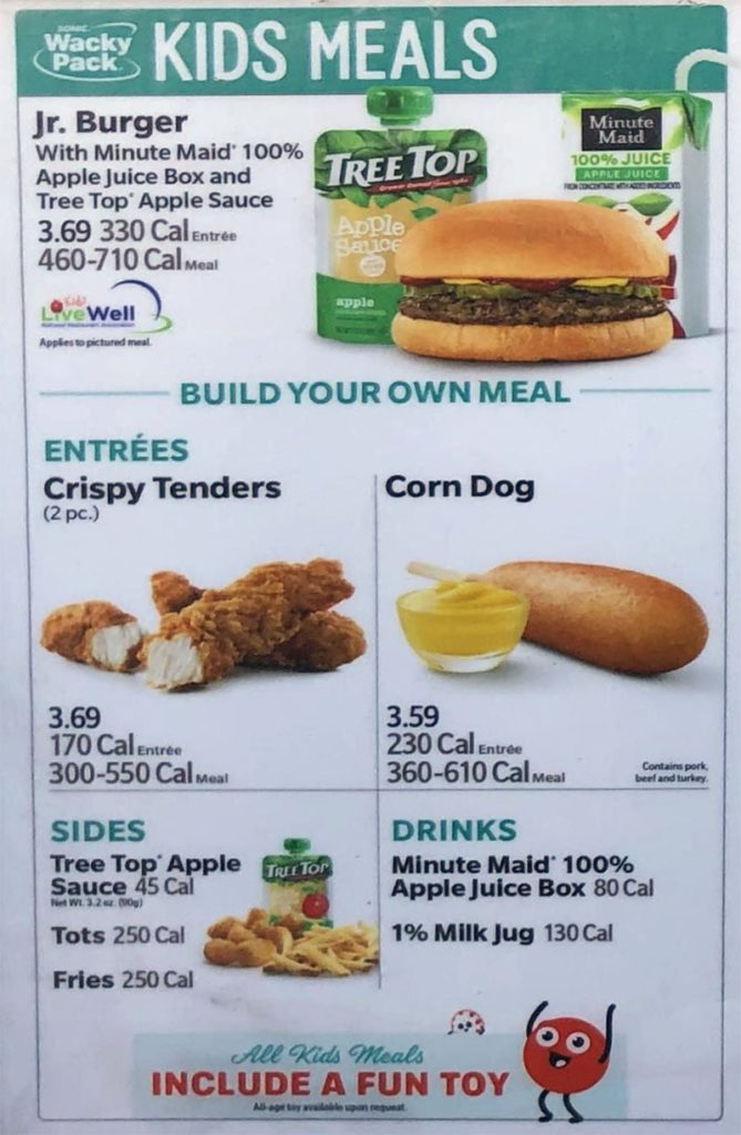Sonic Drive-In menu - kids meals
