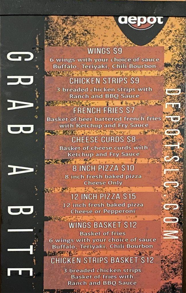 The Depot food menu