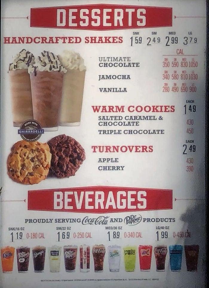 Arby's menu - desserts, beverages