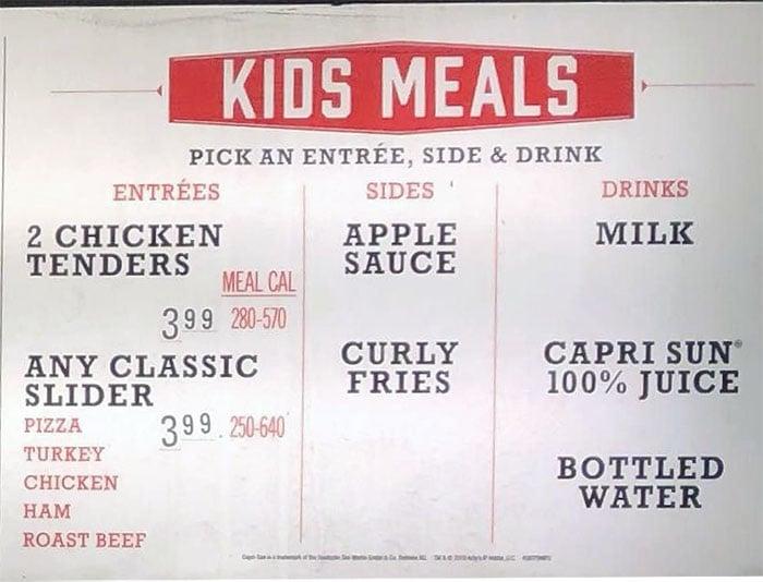 Arby's menu - kids meals