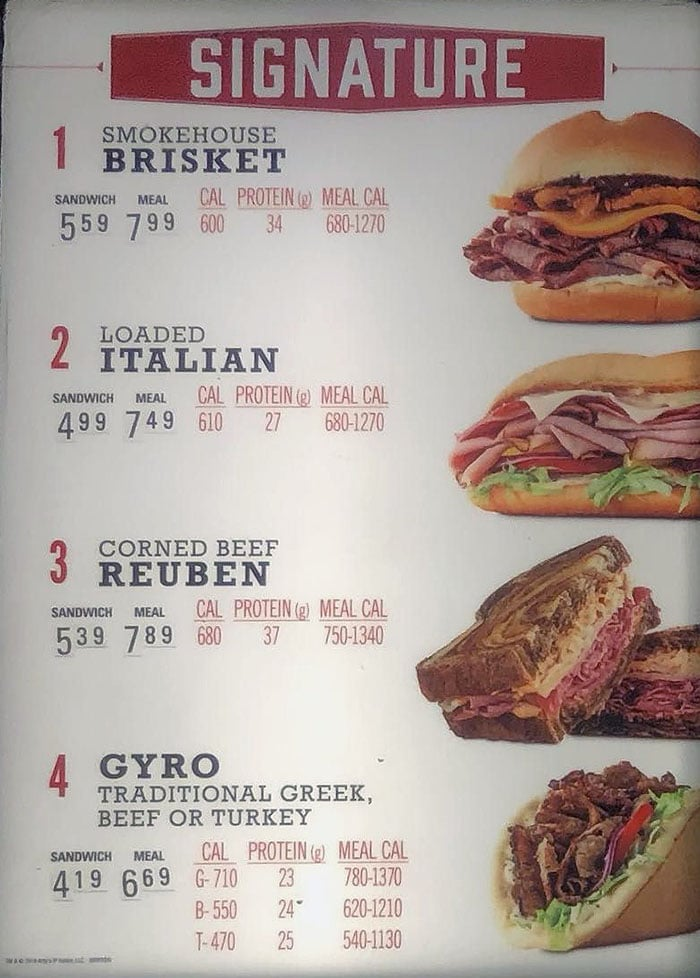 Arby's menu - signature items