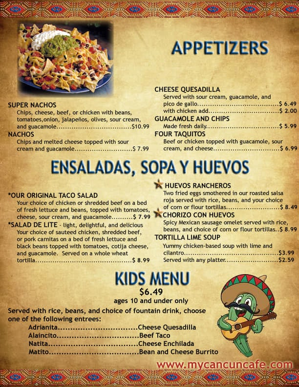Cancun Cafe menu - appetizers, soups, salads, kids