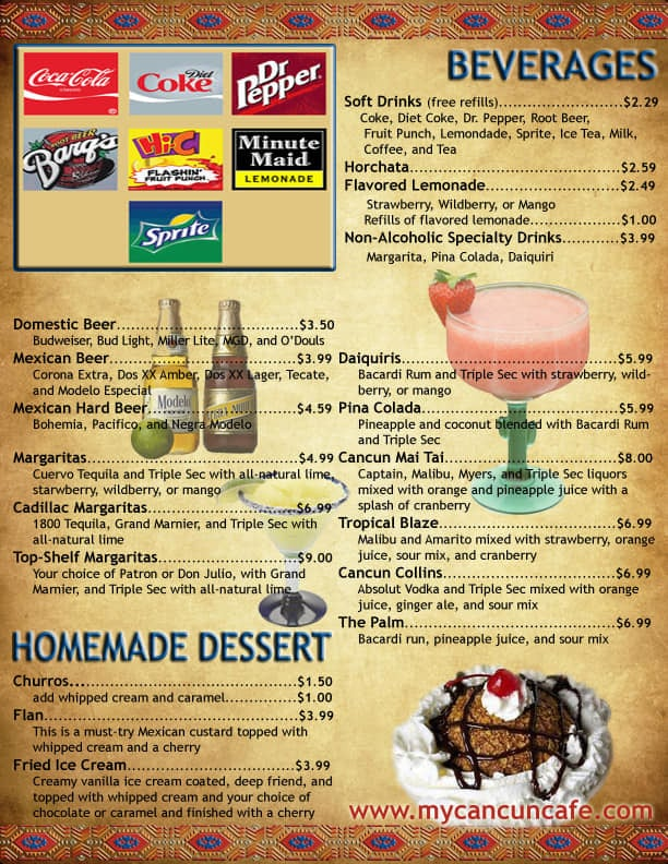 Cancun Cafe menu - beverages, dessert