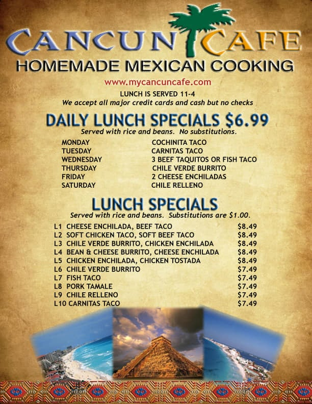 Cancun Cafe menu - lunch specials