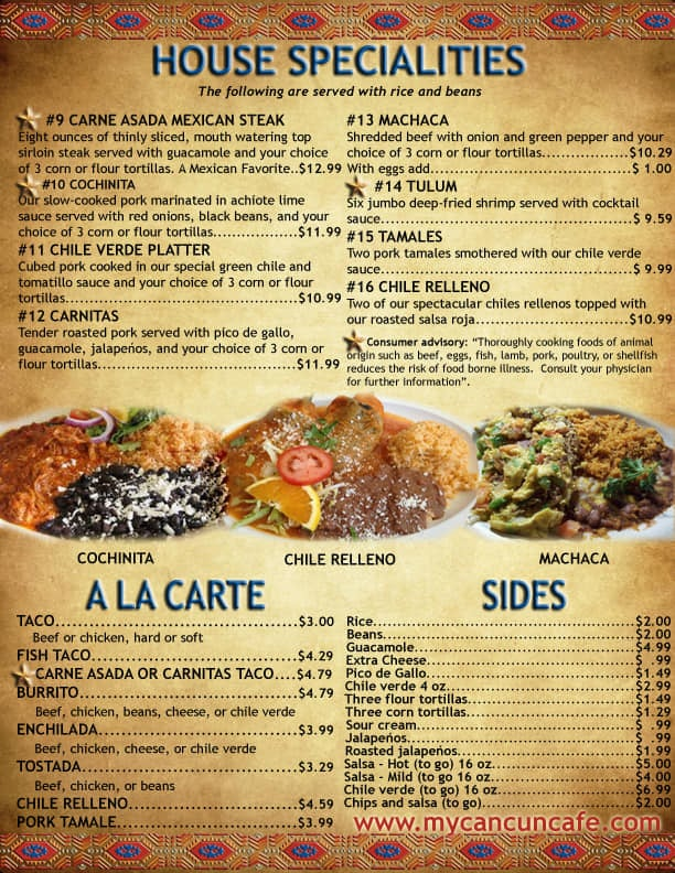 Cancun Cafe menu - specialties, ala carte, sides