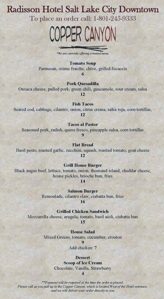 Copper Canyon curbside menu