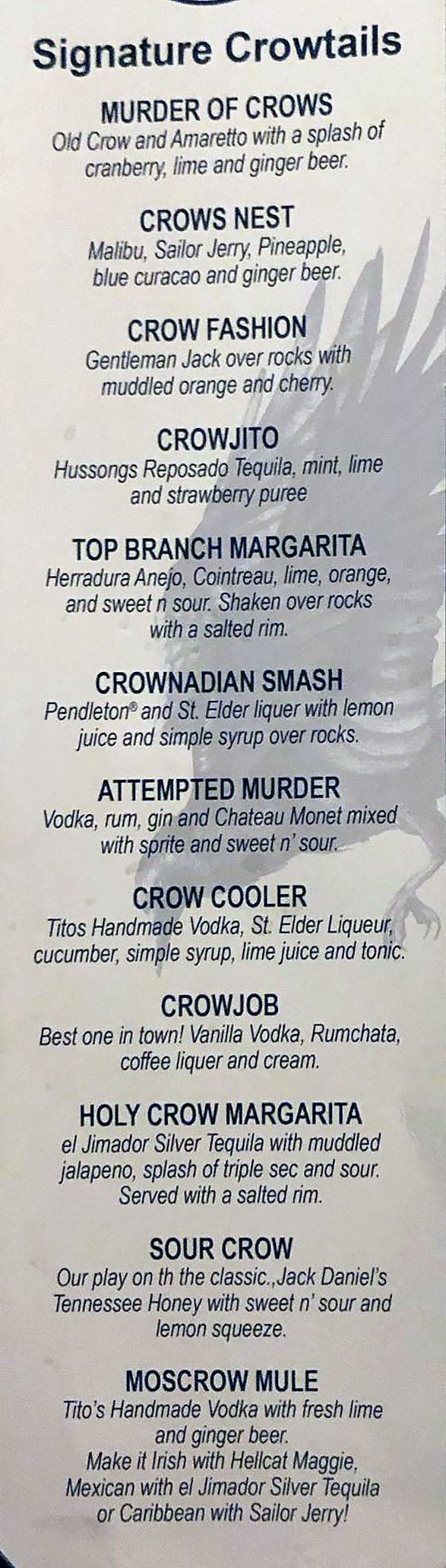Crow And The Pitcher menu - cocktails