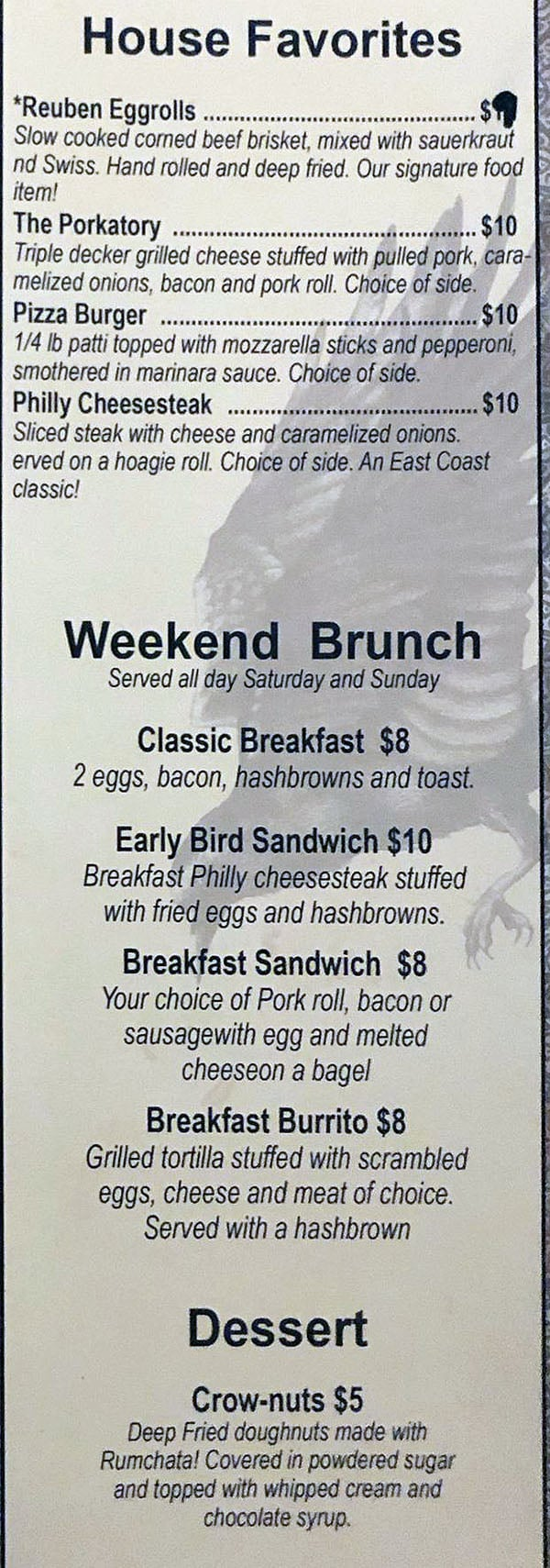 Crow And The Pitcher menu - favorites, brunch, dessert