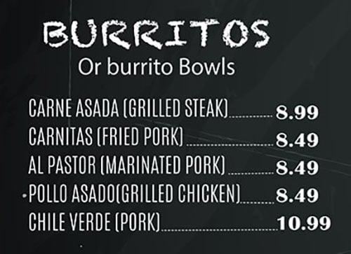El Paisa Grill menu - burritos