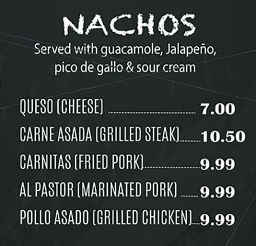 El Paisa Grill menu - nachos
