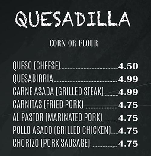 El Paisa Grill menu - quesadilla