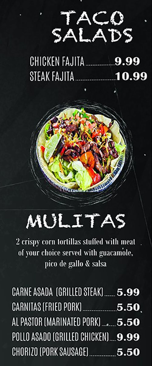 El Paisa Grill menu - taco salads, mulitas