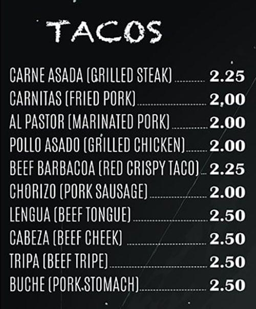 El Paisa Grill menu - tacos