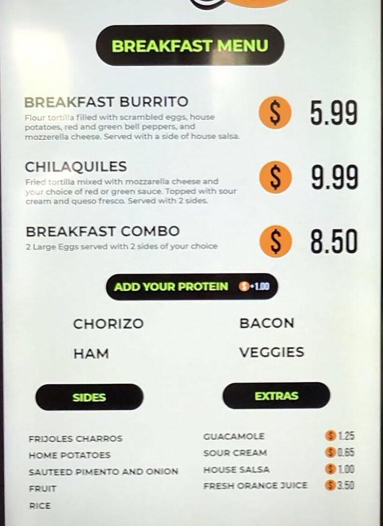 Gallo Loco menu - breakfast