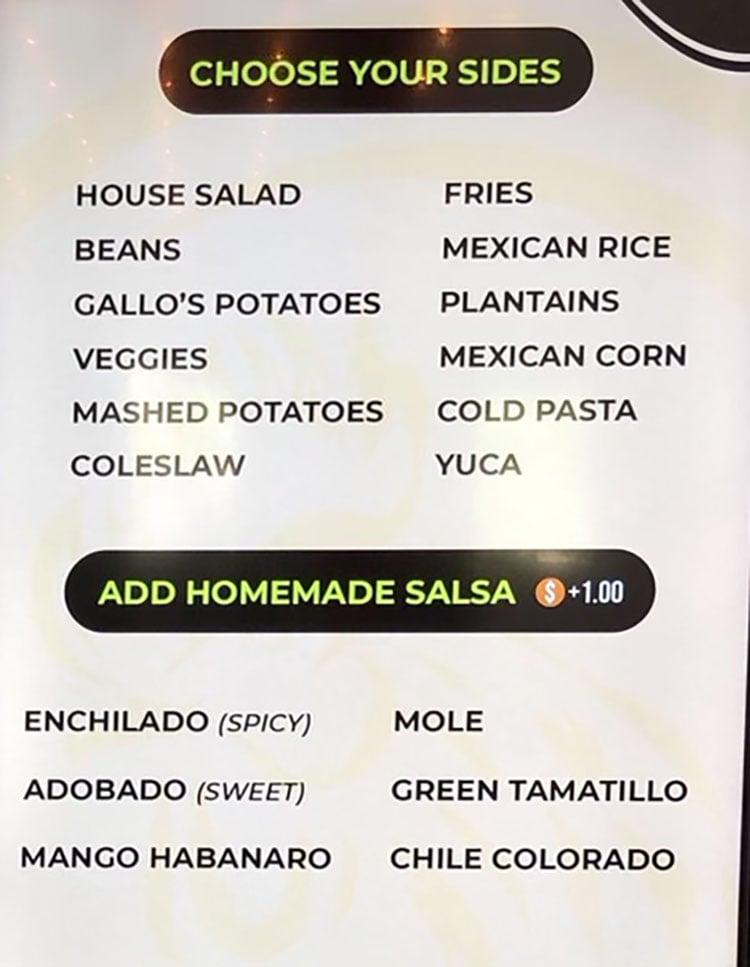Gallo Loco menu - choose your sides, salsa