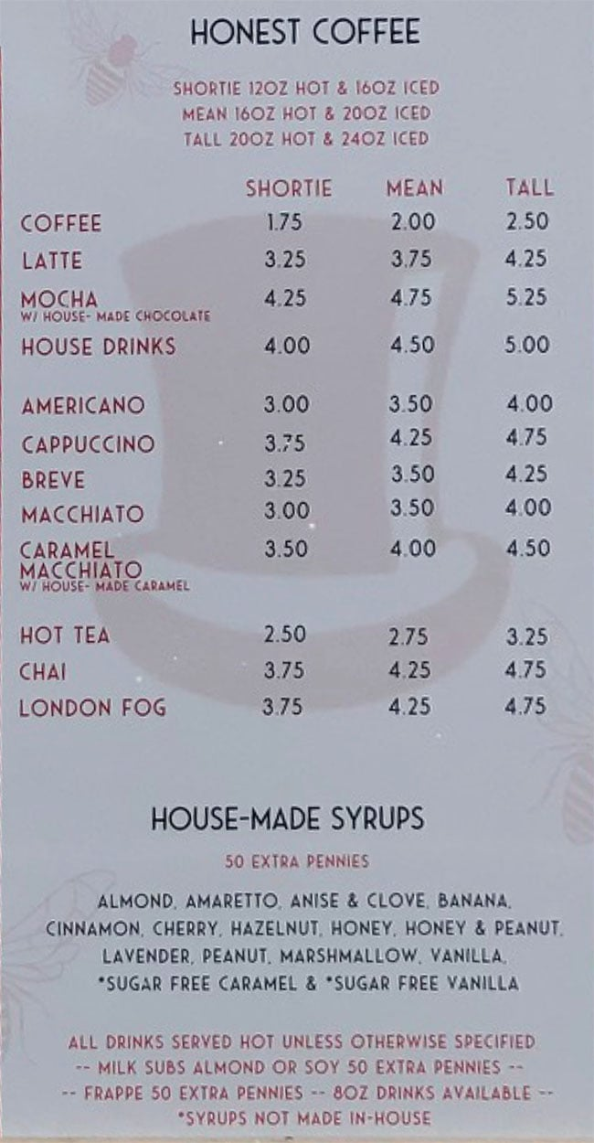 Honest Abe's drive thru menu - coffee, syrups