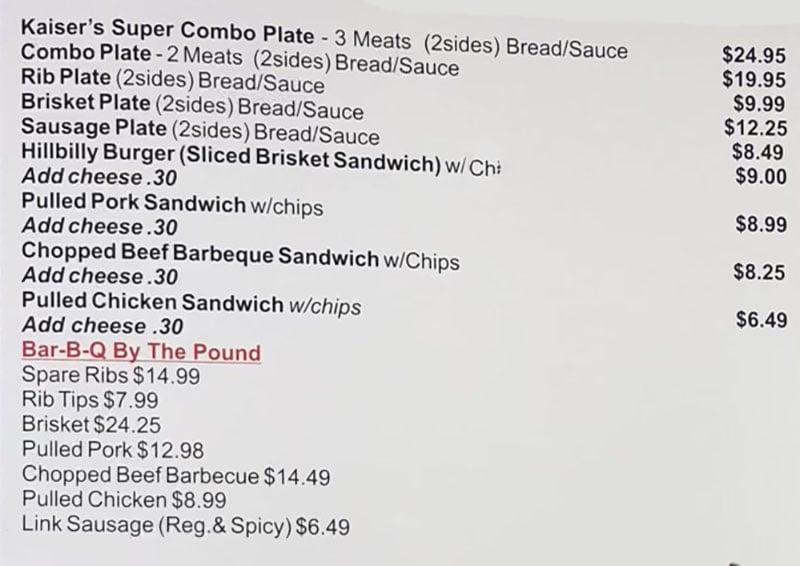 Kaiser's Bar-B-Q menu - meats