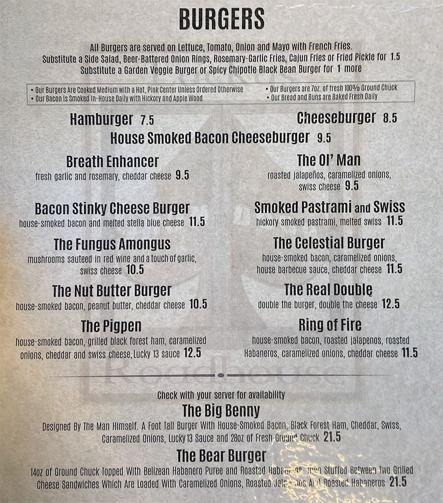 Lucky's Iron Door Roadhouse menu - burgers