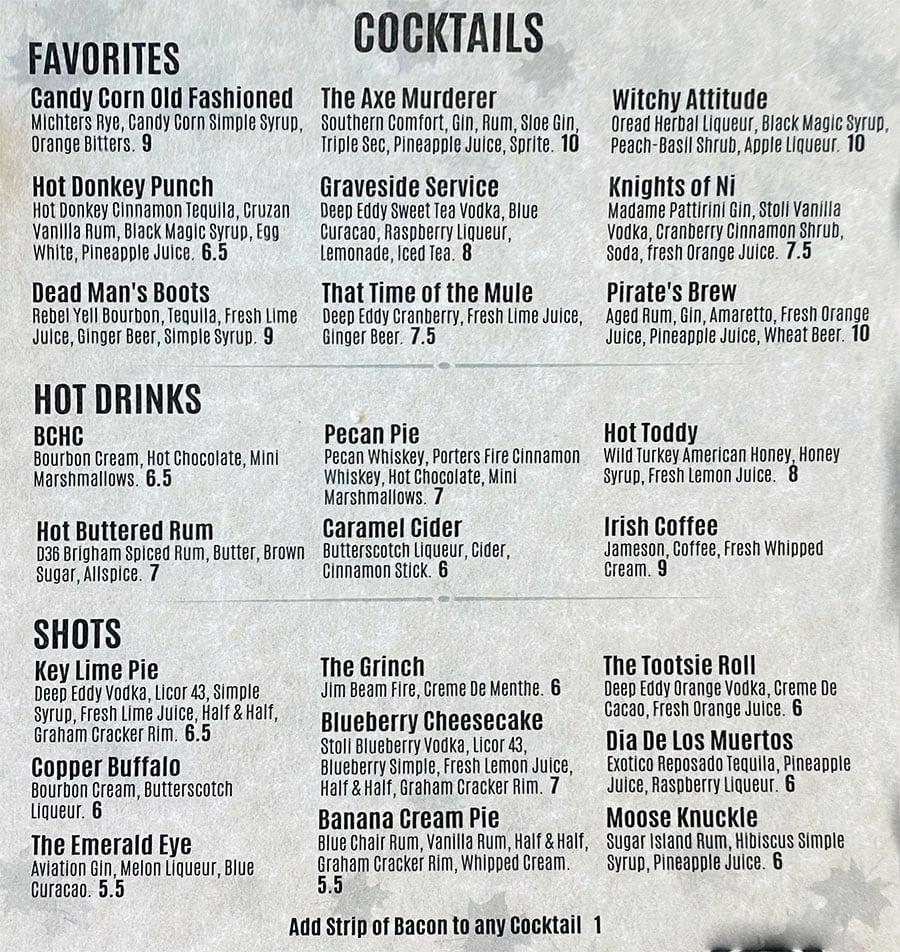 Lucky's Iron Door Roadhouse menu - cocktails