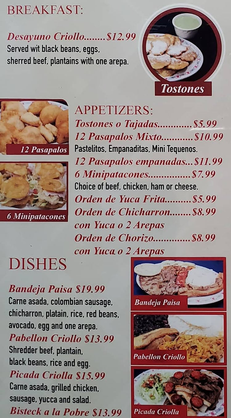 Sabor Latino menu - breakfast