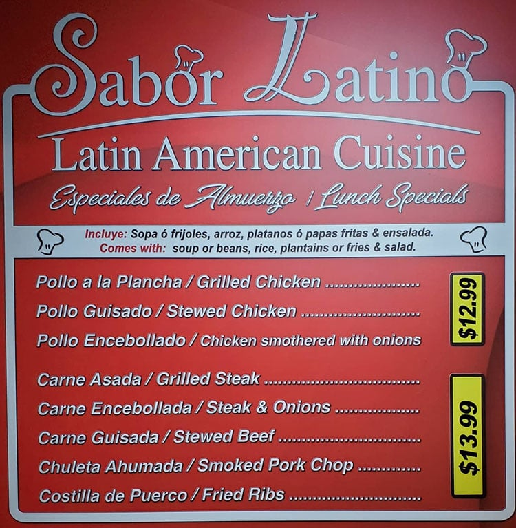 Sabor Latino menu - lunch specials