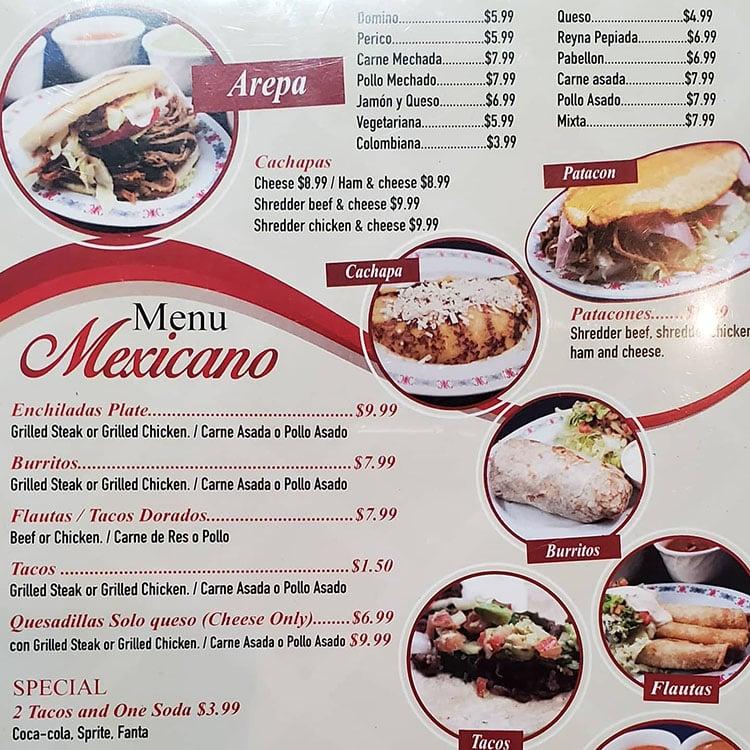Sabor Latino menu - menu mexicano