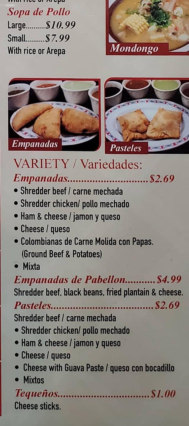 Sabor Latino menu - soups, empanadas continued