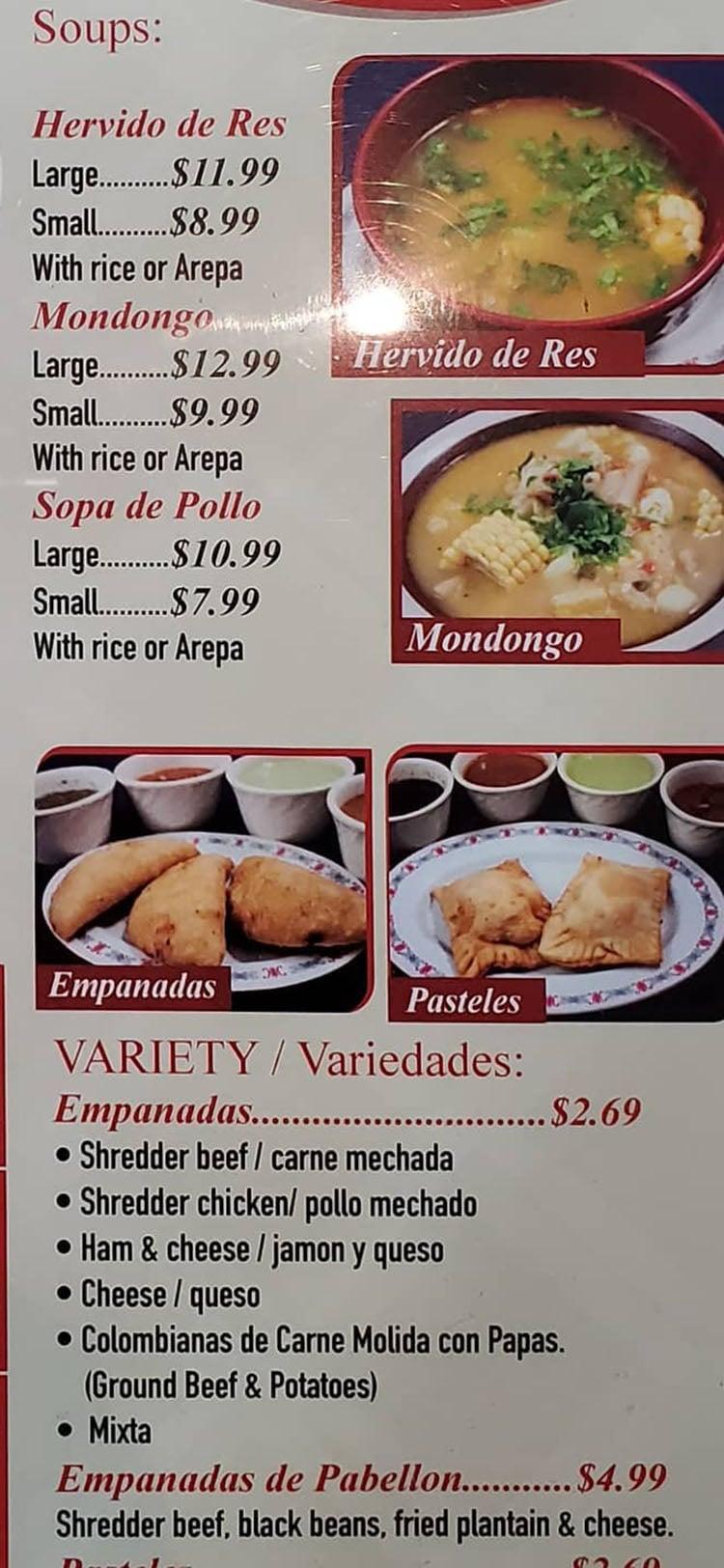 Sabor Latino menu - soups, empanadas