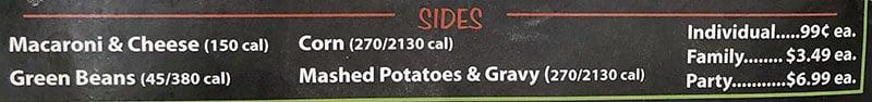 Smith's Utah deli menu - sides
