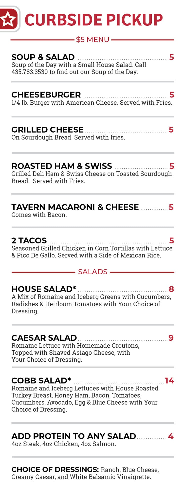 State Road Tavern and Restaurant curbside menu