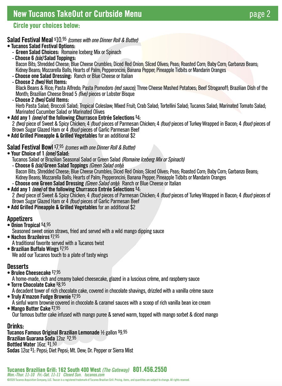 Tucanos curbside pickup menu - page two