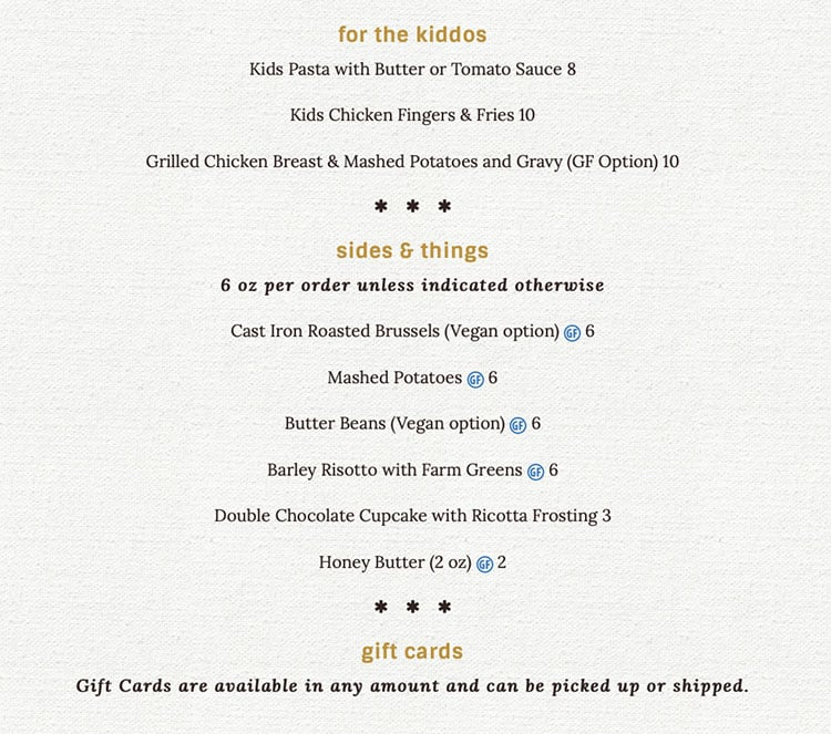 Tupelo curbside pickup menu - kids, sides
