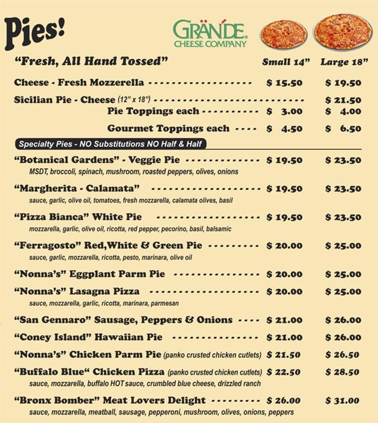 Villaggio Pizzeria menu - pies