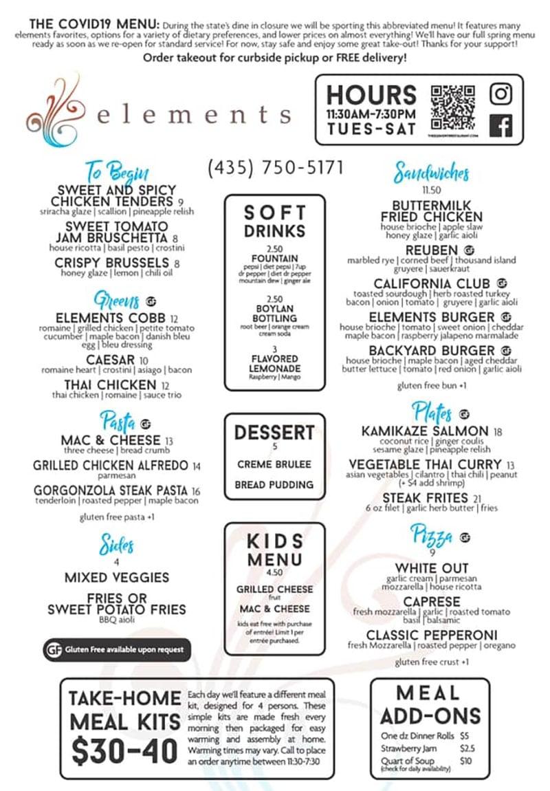 Elements Restaurant curbside menu
