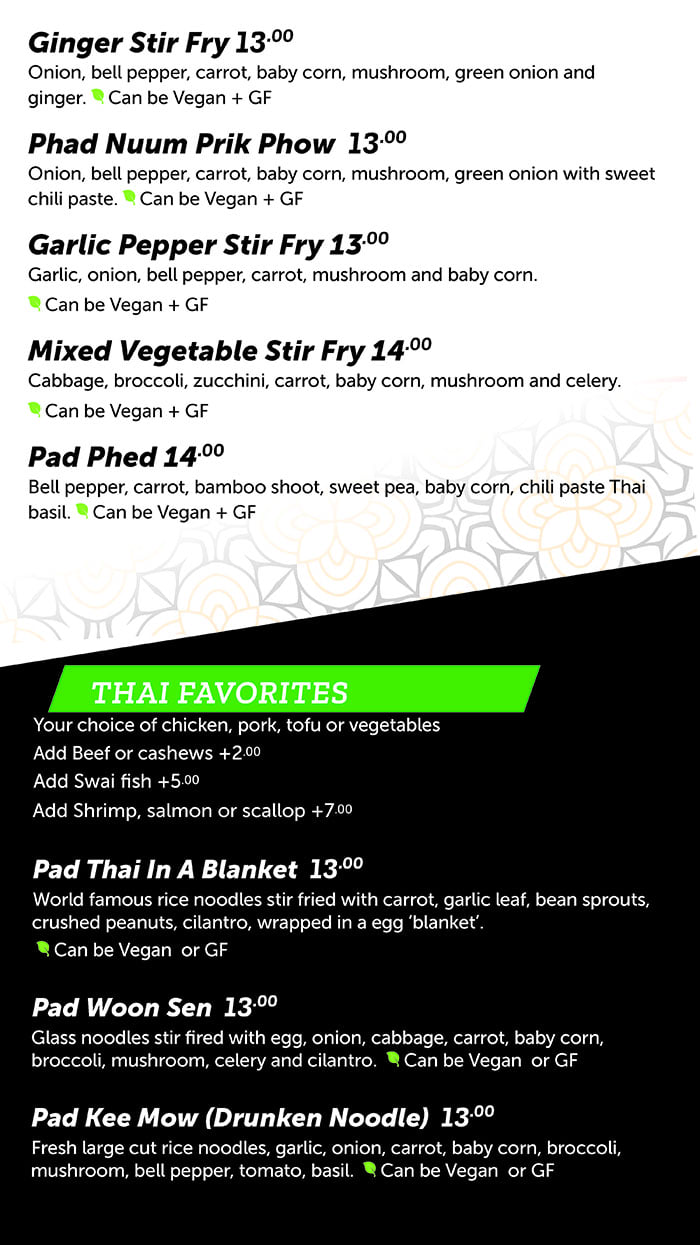 FAV Bistro menu - stir fry, favorites