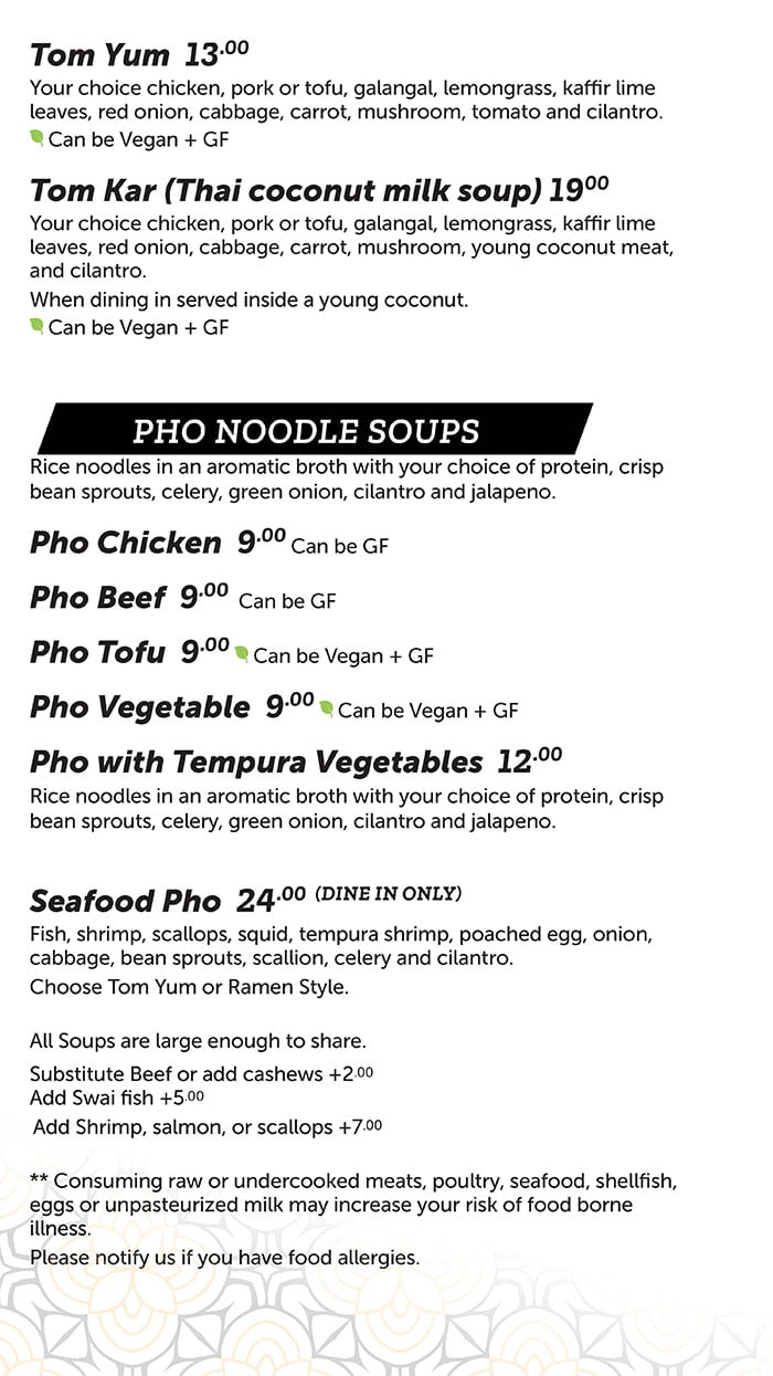 FAV Bistro menu - soup, pho