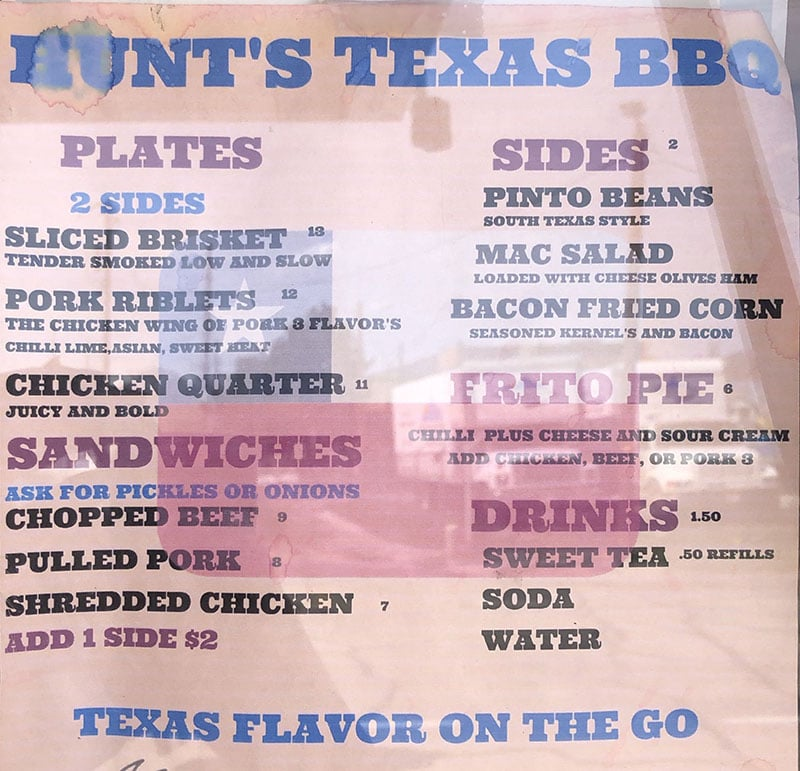 Hunt's Texas BBQ menu - page one