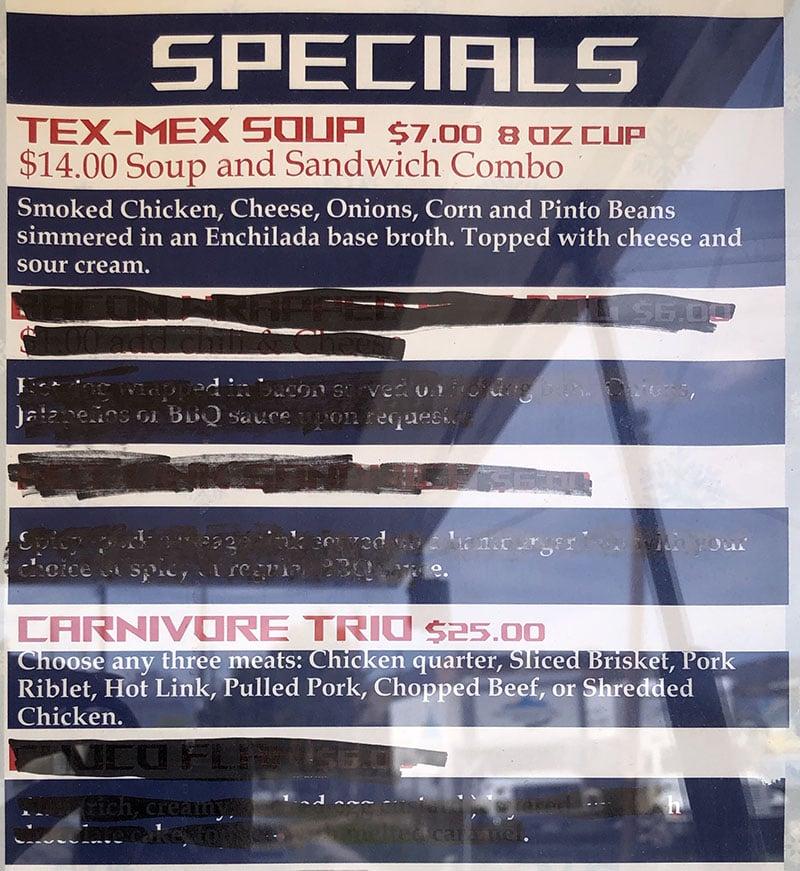 Hunt's Texas BBQ menu - specials