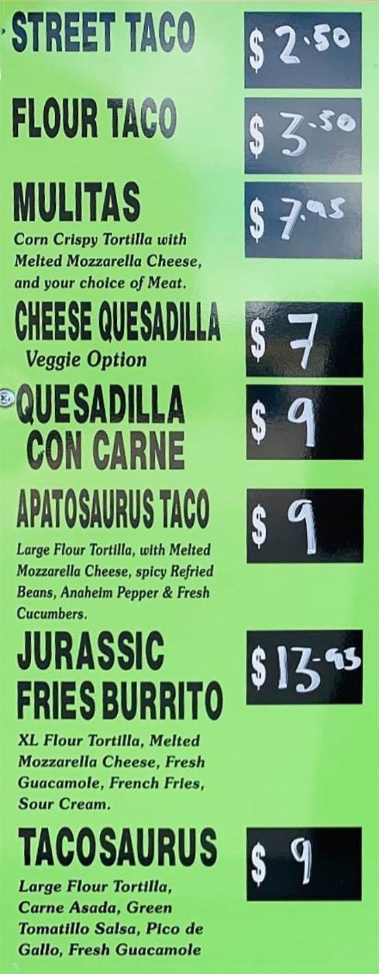 Jurassic Street Tacos menu - tacos