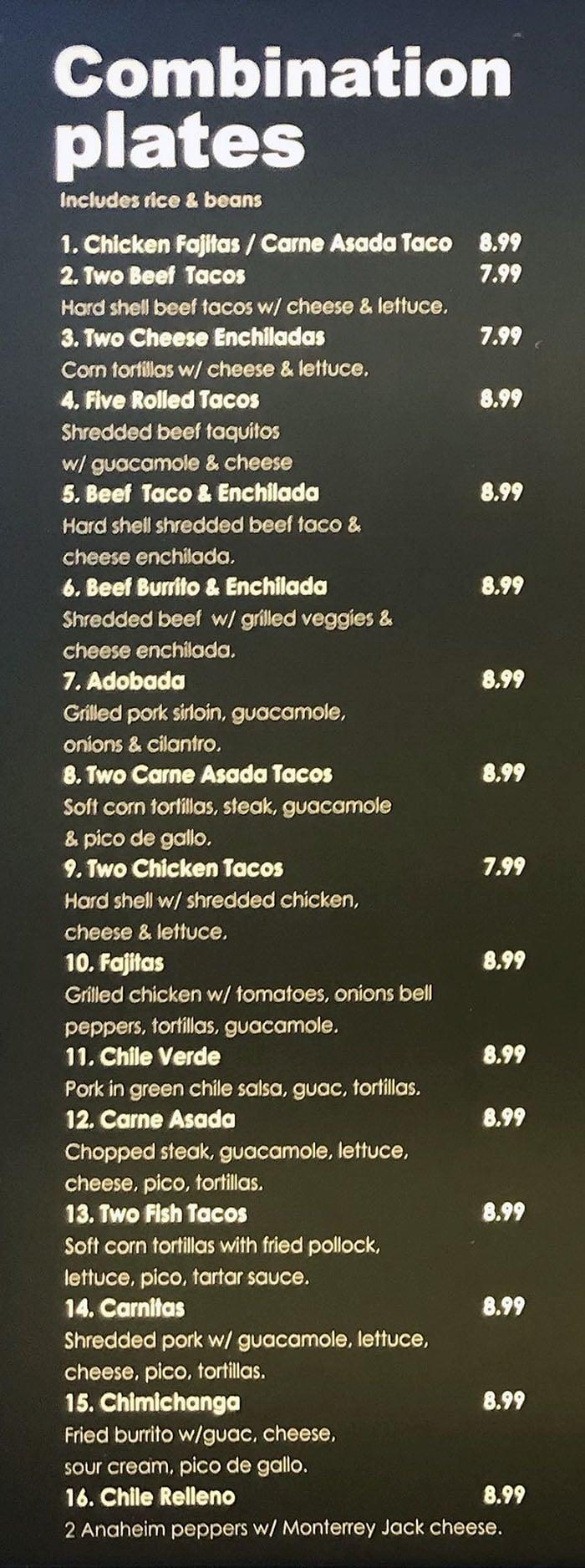 Alberto's menu - combination plates