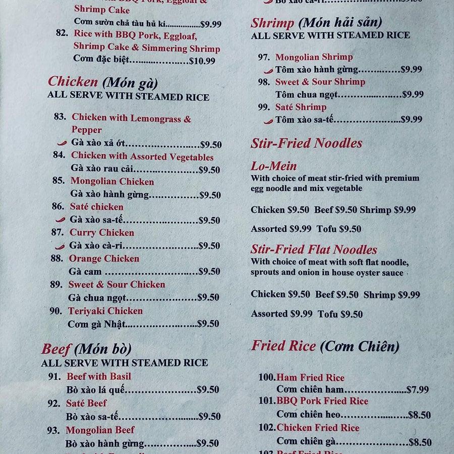Asia Palace 2 menu - Vietnamese, Chinese